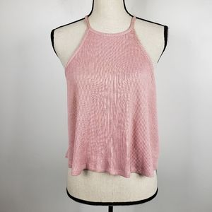 Forever 21 Pink Halter Ribbed Knit Cropped Top S